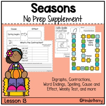 Journey's 1st Grade Lesson 13 Seasons Supplement
