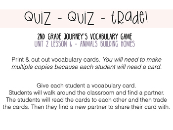 Journey's 2nd Grade Lesson 6, Animals Bulding Home -Vocabulary Quiz, Quiz, Trade