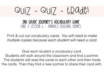 Journey's 2nd Grade Lesson 6, Animals Bulding Home -Vocabu