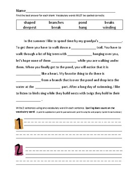 Journey's 2nd Grade Vocabulary and Skills Test Unit 2