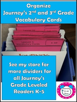 Journey's Vocabulary Cards 2nd and 3rd Grade Dividers