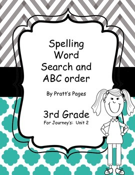 Journey's 3rd grade Unit 2 Word Search and ABC Order