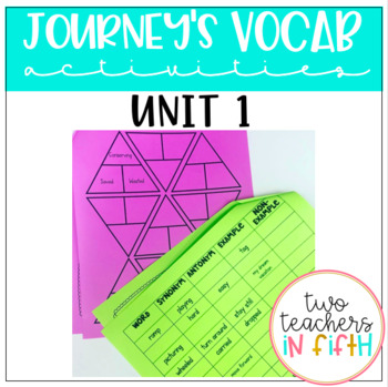 Journey's 5th Grade Vocabulary Activities for Unit 1