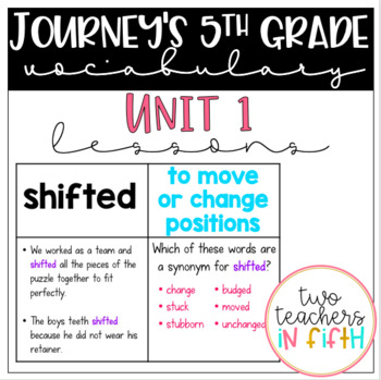 Journey's 5th Grade Vocabulary Lessons: Unit 1