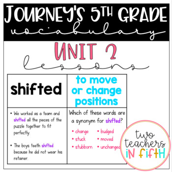 Journey's 5th Grade Vocabulary Lessons: Unit 2