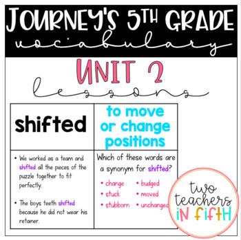 Journey's 5th Grade Vocabulary Lessons: Unit 2