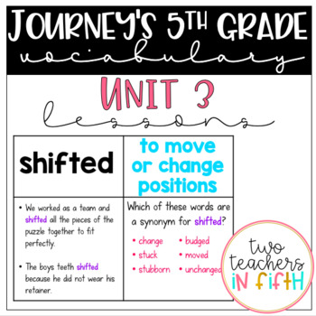 Journey's 5th grade Vocabulary Lessons: Unit 3