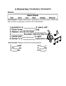 Journey's A Musical Day Vocabulary Homework