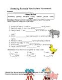 Journey's Amazing Animals Vocabulary Homework