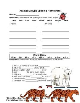 Journey's Animal Groups Spelling Homework