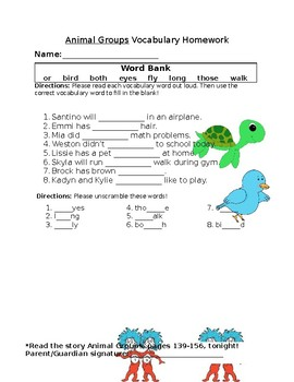 Journey's Animal Groups Vocabulary Homework