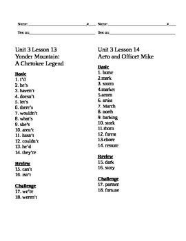 Journey's Common Core Spelling Lists Unit 3