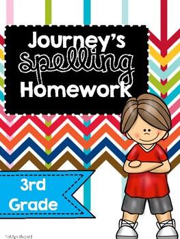 Journey's Companion Complete List of Spelling Homework for 3rd Grade