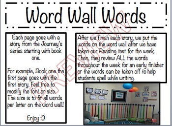 Journey's Complete Word Wall Set -1st Grade
