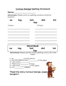 Journey's Curious George Spelling Homework