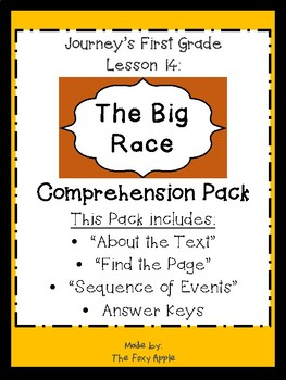 Journey's First Grade Lesson 14 Comprehension Pack