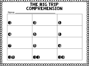 Journey's First Grade Lesson 17 The Big Trip Comprehension Task Cards