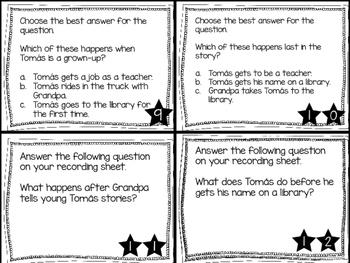 Journey's First Grade Lesson 19 Tomás Rivera Comprehension Task Cards