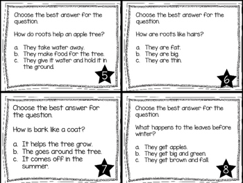 Journey's First Grade Lesson 24 A Tree is a Plant Comprehension Task Cards