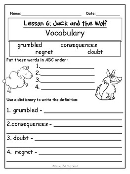Journey's First Grade Lesson 6 Comprehension Pack