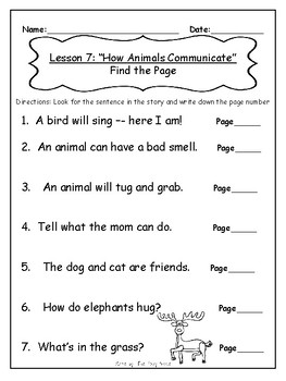 Journey's First Grade Lesson 7 Comprehension Pack