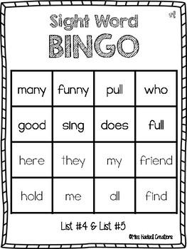Journey's First Grade Sight Word Bingo (Lesson 4-Lesson 5)