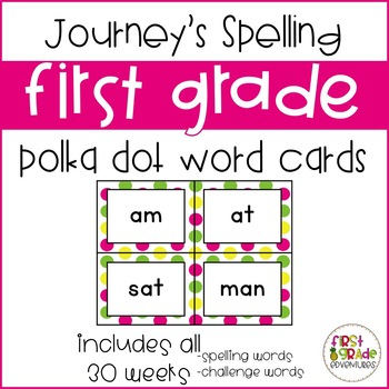 Journey's First Grade Spelling Cards [Bright Polka Dots] *EDITABLE*
