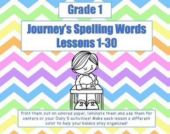 Journey's First Grade Spelling Lists