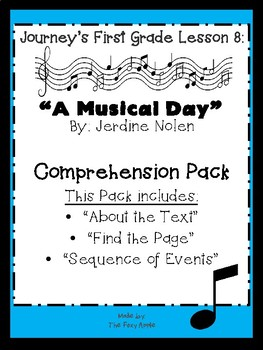 Journey's First Grade lesson 8 Comprehension Pack