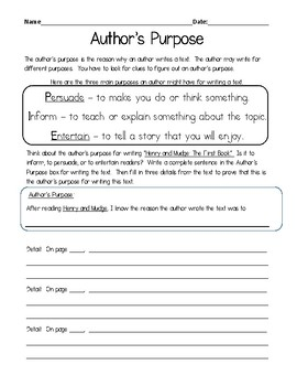 Journey's Grade 2 Lesson 1 Author's Purpose Henry & Mudge