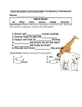 Journey's How Animals Communicate Vocabulary Homework