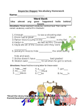 Journey's Inspector Hopper Vocabulary Homework