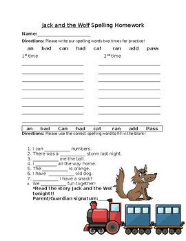 Journey's Jack and the Wolf Spelling Homework