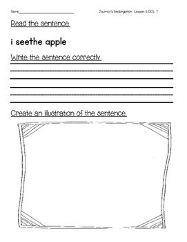 Journey's Kindergarten DOL Sentence Writing