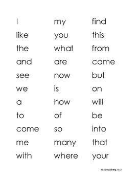 Journey's Kindergarten HF Word Assessment Words