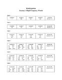 Journey's Kindergarten High Frequency Words