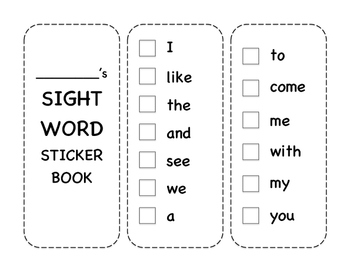 Journey's Kindergarten Sight Word Sticker Book