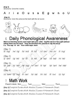 Journey's Lesson's 6-10 Weekly Homework with Eureka Math