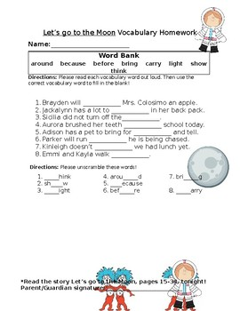 Journey's Let's Go to the Moon Vocabulary Homework