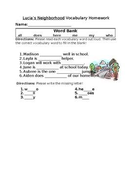 Journey's Lucia's Neighborhood Vocabulary Homework
