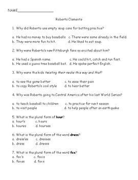 Journey's Quiz Roberto Clemente (Grade 3, Unit 5)