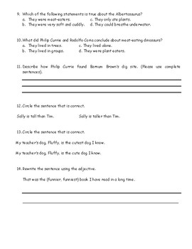 Journey's Quiz The Albertosaurus Mystery (grade 3, lesson 17)