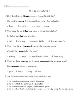 Journey's Quiz What Do Illustrator's Do? (Grade 3, lesson 7)