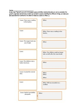 """Journey's 'Rachel's Journal"""" Cause and Effect Graphic Organizer"""