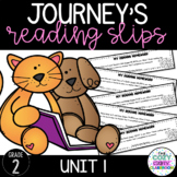 Journey's Reading Homework Slips (2nd Grade) Unit 1