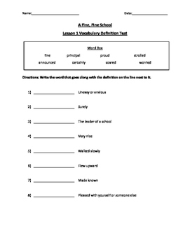 Journey's Reading Series Vocabulary Test