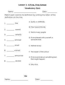 Journey's Reading Vocabulary Quiz Lesson 1: A Fine, Fine School