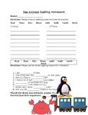 Journey's Sea Animals Spelling Homework
