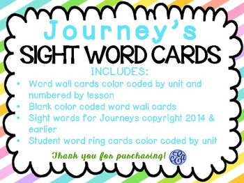 Journey's Sight Words for Word Wall and Students