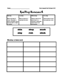 Journey's Spelling Homework Unit 3